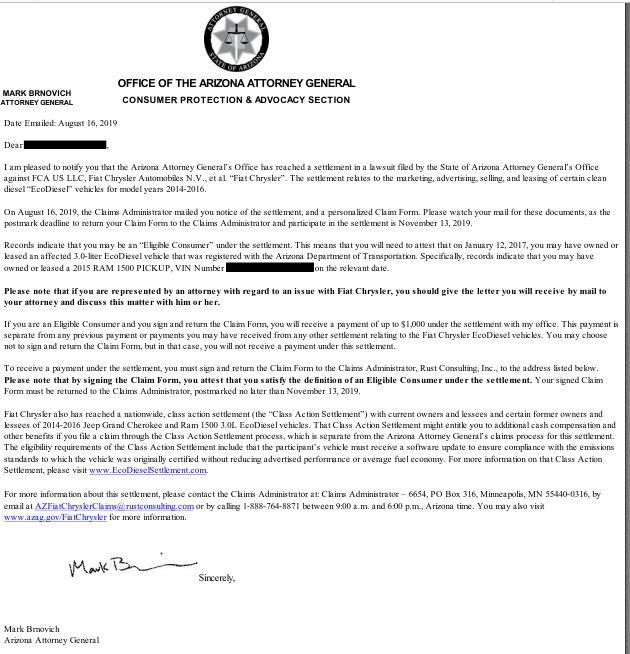 Arizona separate settlement