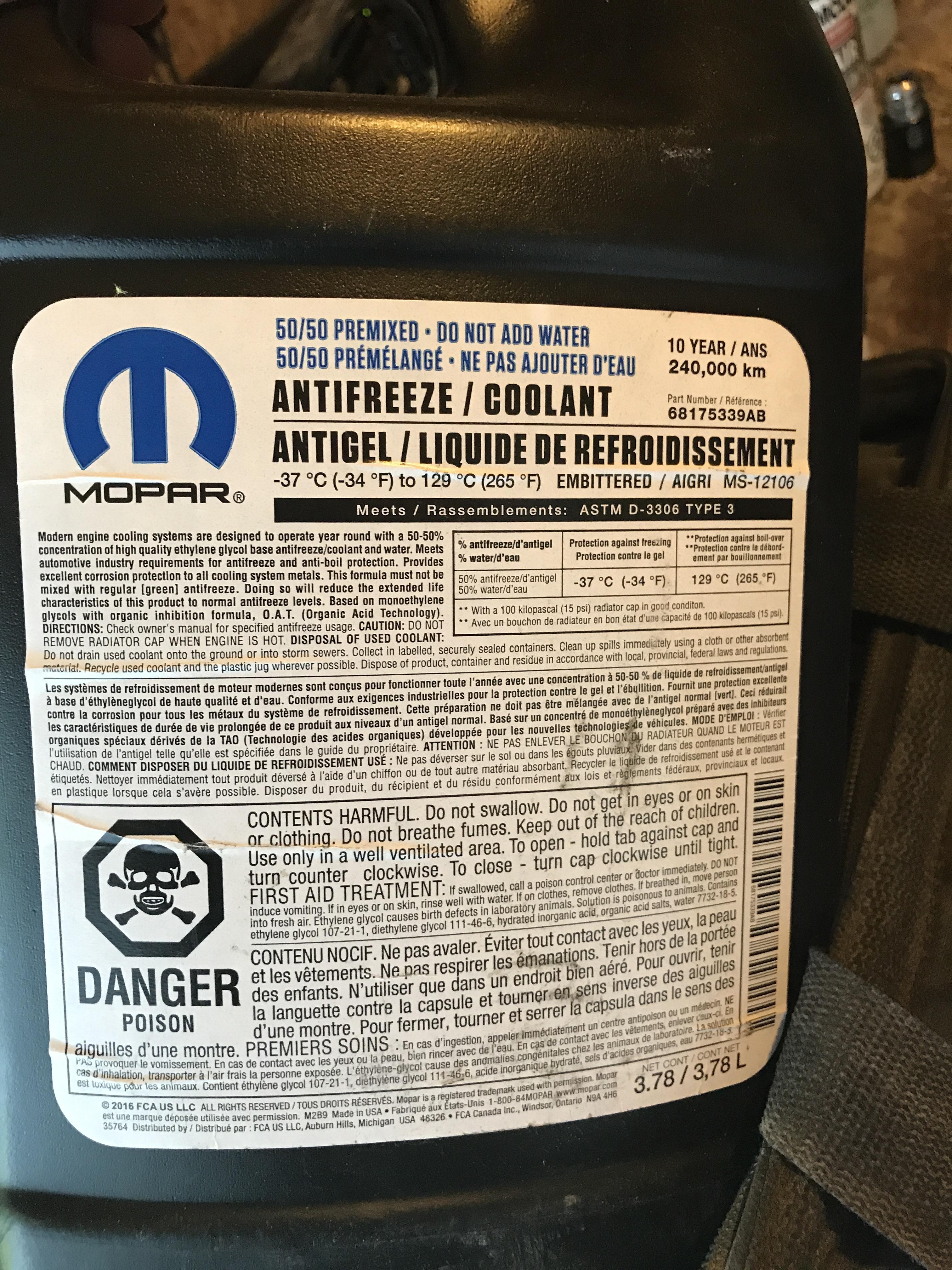 Antifreeze Coolant Ram 1500 Diesel Forum