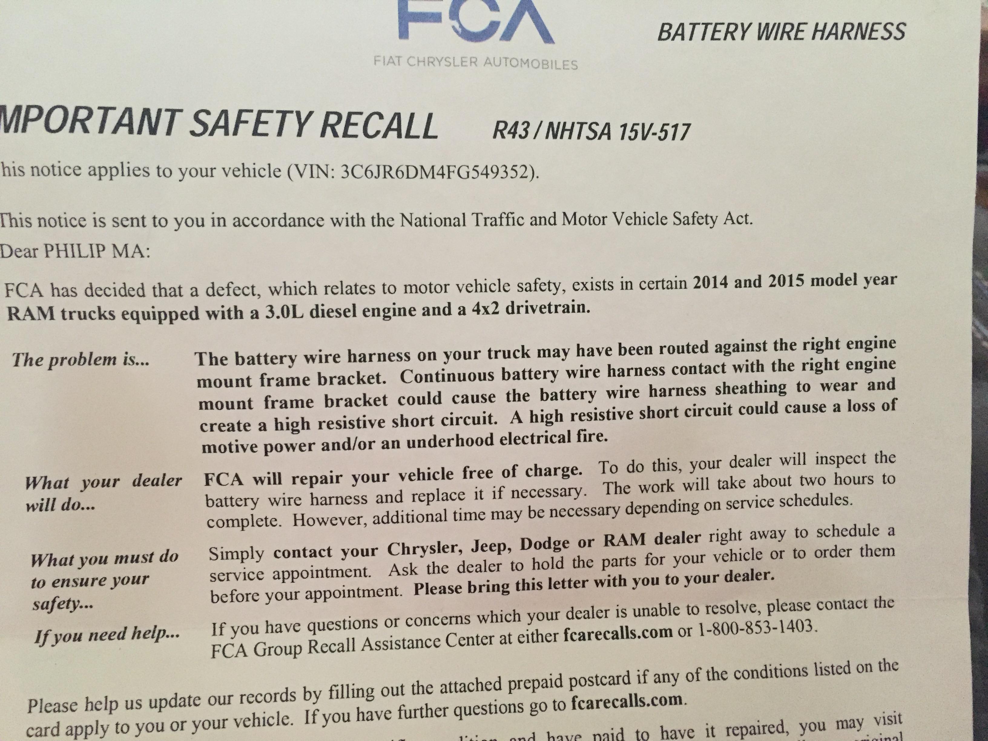 First Recall Letter But I Think Got This Repair Like 7 Months Ago Chrysler Wiring Harness